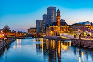 Sunset view of skyline of Malmo dominated by the world maritime university, Sweden